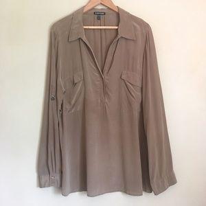 Eileen Fisher 100% Silk Blouse Light Brown Faded